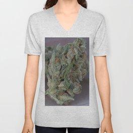 Close up macro of Dr. Who Medicinal Medical Marijuana Unisex V-Neck
