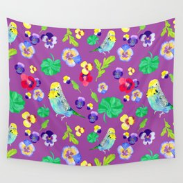 Pansy and parakeet Wall Tapestry