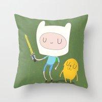finn and jake Throw Pillows featuring Finn & Jake by Rod Perich