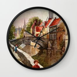 Vintage retro style Bruges travel advertising Wall Clock
