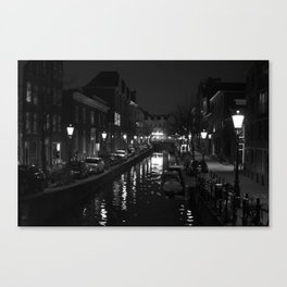 Amsterdam by Night - Canal Canvas Print