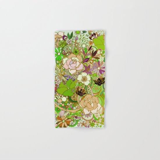 Detailed summer floral pattern, green Hand & Bath Towel