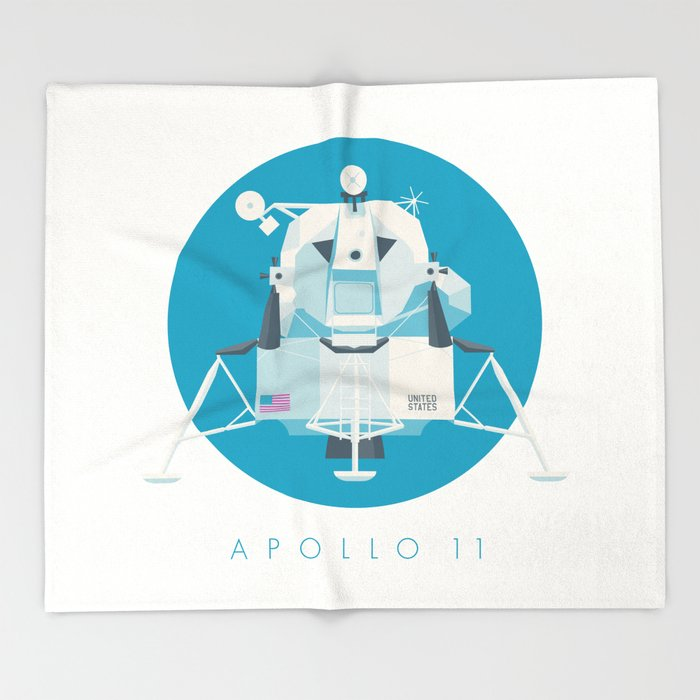 Apollo 11 Lunar Lander Module - Text Cyan Throw Blanket