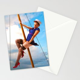 """Ahoy!"" - The Playful Pinup - Classic Sailor Pinup Girl by Maxwell H. Johnson Stationery Cards"