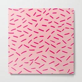 Pink Hundreds & Thousands Pattern Metal Print