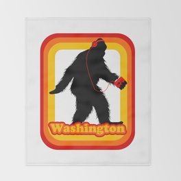 Retro Sasquatch Washington Throw Blanket