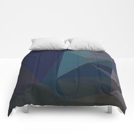 Dark Blue Geometric - Abstract Art by Fluid Nature Comforters