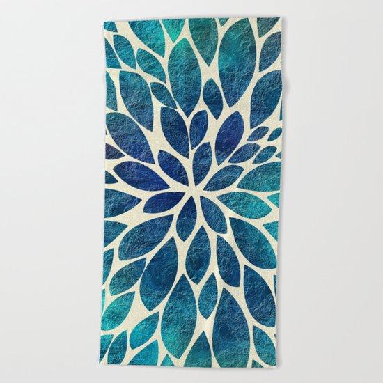 Petal Burst - Turquoise Beach Towel