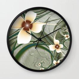 Fractal Doodadling with Flowers Wall Clock