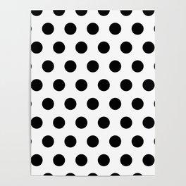 Polka Dots Black & white Poster
