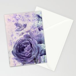roses and ivy in purple Stationery Cards
