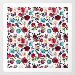 Burgundy pink teal blue watercolor boho floral Art Print