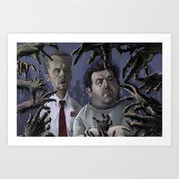 shaun of the dead Art Prints featuring Shaun of the Dead Caricature by Richtoon