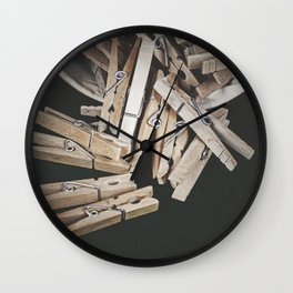 Wooden Clothespins 7 Wall Clock