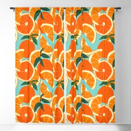 Orange Harvest - Blue Blackout Curtain