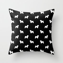 Bichon Frise dog pattern black and white minimal pet patterns dog breeds silhouette Throw Pillow