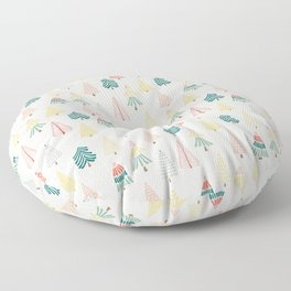 Doodle trees in the snow - small scale Floor Pillow