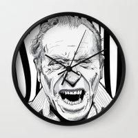 bukowski Wall Clocks featuring mr bukowski by Darby Krow