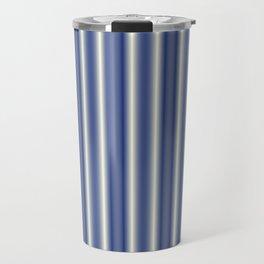 Blue and Cream Stripes Travel Mug