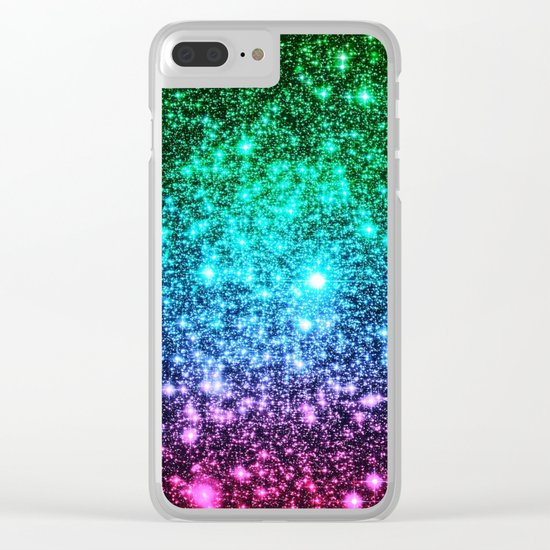 glitter Cool Tone Ombre (green blue purple pink) Clear iPhone Case