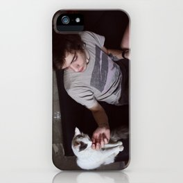 boy with cat iPhone Case
