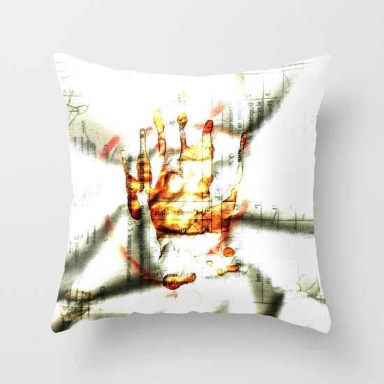 Trace of the hand Throw Pillow
