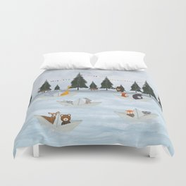 the great paper boat race Duvet Cover