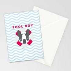 Boston Terrier: Pool boy. Stationery Cards