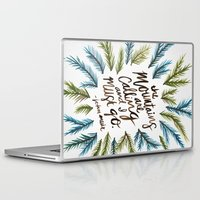 the mountains are calling Laptop & iPad Skins featuring Mountains Calling by Cat Coquillette