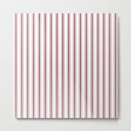 Dark Red Pear Mattress Ticking Wide Striped Pattern - Fall Fashion 2018 Metal Print