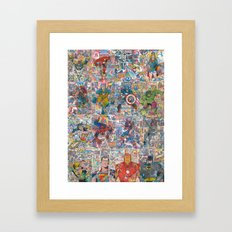 Vintage Comic Superheroes Galore (Limited Time) Framed Art Print