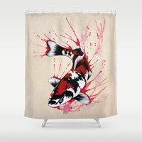 outdoor Shower Curtains featuring Koi by Puddingshades