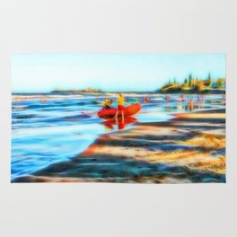 Surf Rescue on beautiful beach Rug