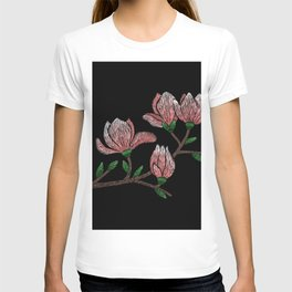 Embroidered Flowers on Black 07 T-shirt