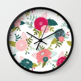 Coral and Teal Poppies Wall Clock