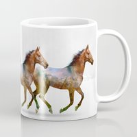 horse Mugs featuring horse by ron ashkenazi