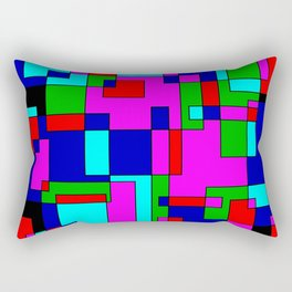 rectangles on black Rectangular Pillow