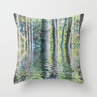 sia Throw Pillows featuring SERENE GREEN SCENE by Catspaws
