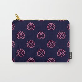 Navy Blue and Pink Flourish Swirls Carry-All Pouch