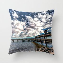 Pier Under Gathering Clouds Throw Pillow