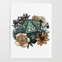 Cleric Class D20 - Tabletop Gaming Dice Poster