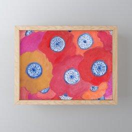 Hippy flowers watercolor Framed Mini Art Print