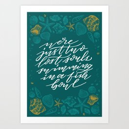 Wish You Were Here - Turquoise and White Art Print