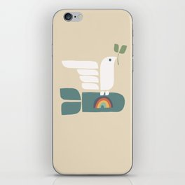 Peace dove and rainbow bomb iPhone Skin