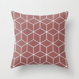 Cube Geometric 03 Dark Pink Throw Pillow