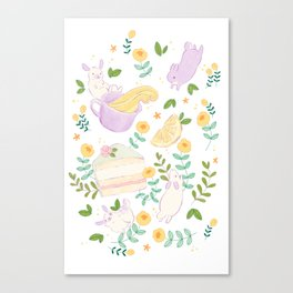 Tea, Cake and Bunnies - Art illustration - Cute Artwork Canvas Print