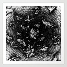 Scratchboard #10 - Moths Art Print