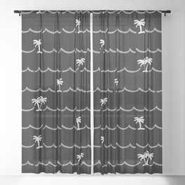 Tropica Night - black and white tropical pattern Sheer Curtain