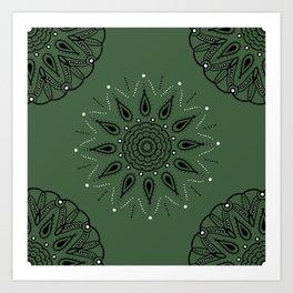 Central Mandala Jade Green Art Print