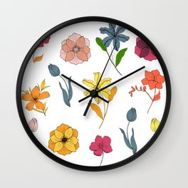 Colorful Hand drawn Flower Power Pattern Wall Clock
